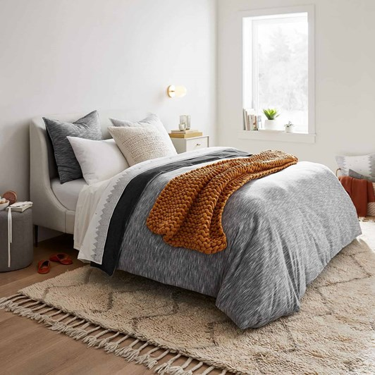 West Elm Lana Bed King Chenille Tweed Frost Grey