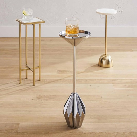 West Elm Faceted Brass Drink Table Brushed Nickel