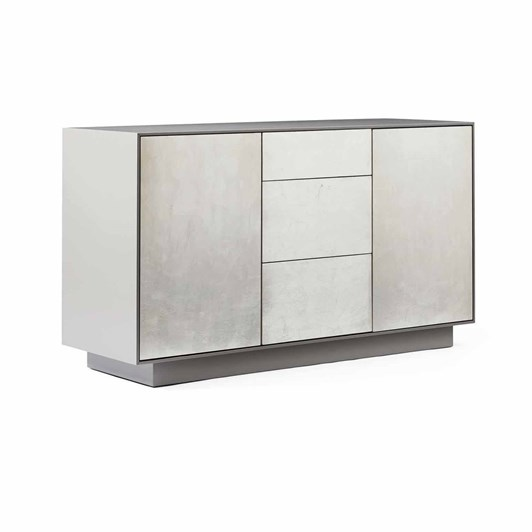 West Elm Leafed Front Buffet Silver Leaf Gauntlet Grey