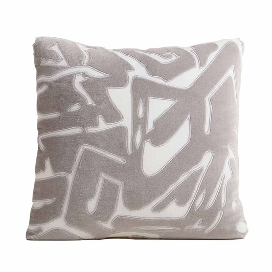 West Elm Abstract Velvet Cushion Cover 18x18 Inch Platinum