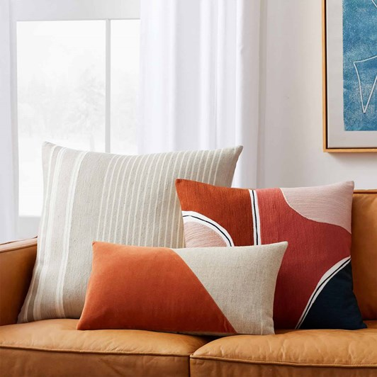 West Elm Silk Stripe Cushion Cover 24x24 Inches Stone