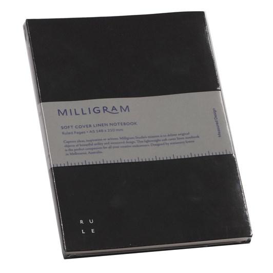 Studio Milligram Soft Cover Linen Notebook Ruled A5 Black