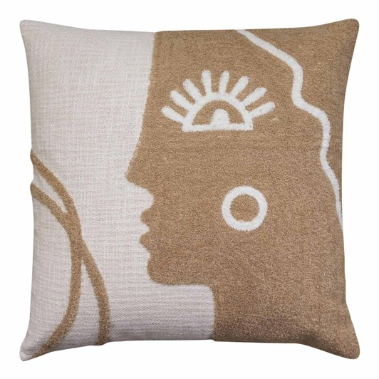 Madras Faces Embroidered Mustard Cushion 50x50