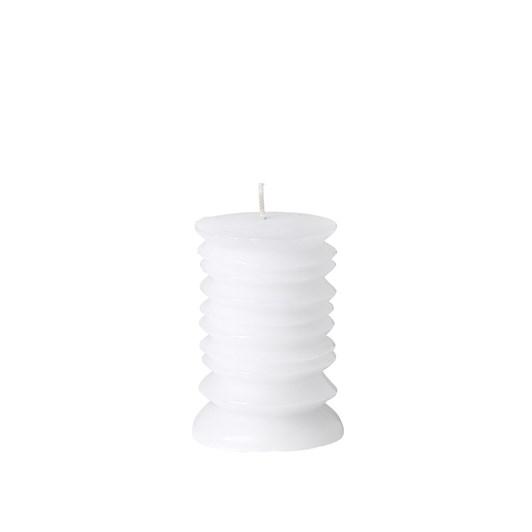 Broste Pillar Circle Candle White H100