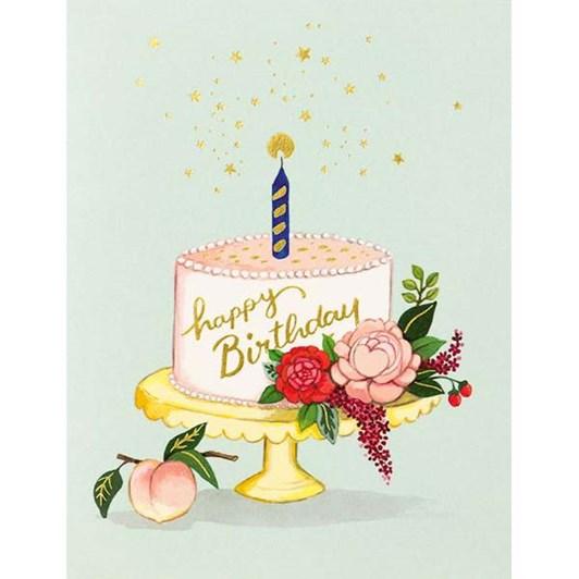 Peach Cake Birthday Foil Card