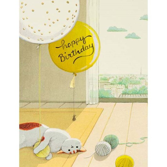 Cat And Yarns Birthday Foil Card