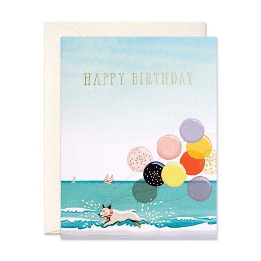 Splashing Dog Birthday Foil Card