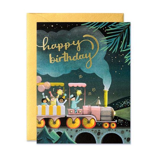 Train Birthday Foil Card