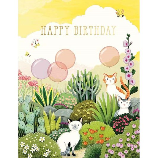 Cats In Garden Birthday Foil Card