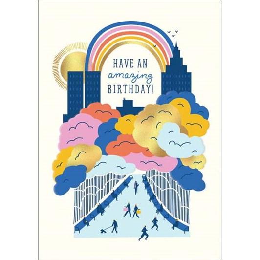 Amazing Birthday City Foil Card