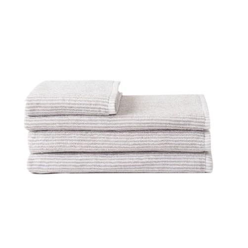 Citta Stripe Organic Cotton Face Cloth Grey/White 35x35cm