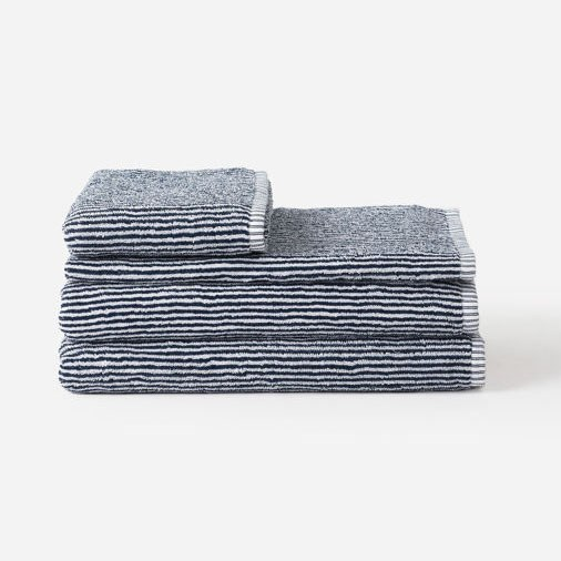Citta Stripe Organic Cotton Bath Towel Navy/White 80x150cm