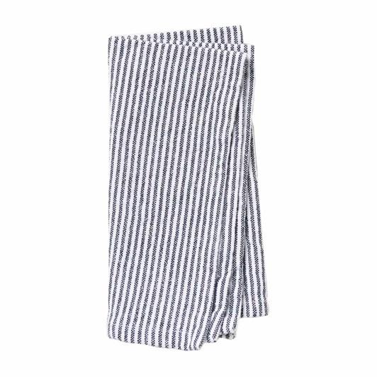 Citta Stripe Washed Cotton Napkin Navy  45X45Cm