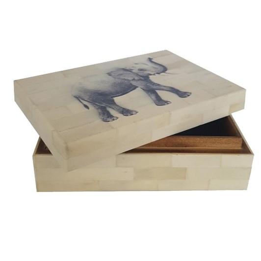 White Resin Box With Elephant Print Lid 10x15x5cm