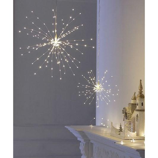 Stellar Haus Small Plug In Starburst Silver Warm White 33cm