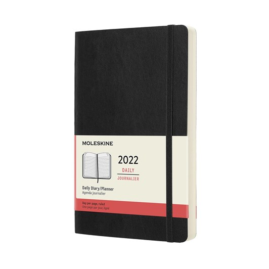 Moleskine 12 Month Daily Large Black Soft Cover 2022 Diary
