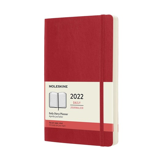 Moleskine 12 Month Daily Large Scarlet Red Soft Cover 2022 Diary