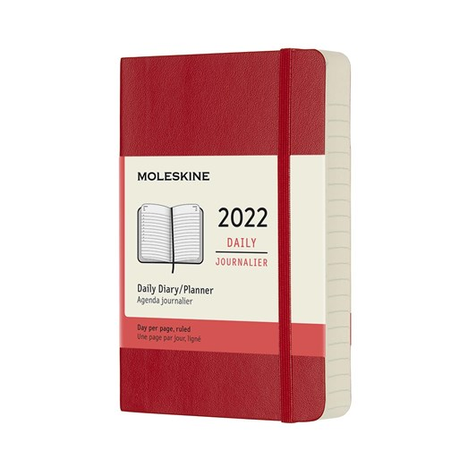 Moleskine 12 Month Daily Pocket Scarlet Red Soft Cover 2022 Diary