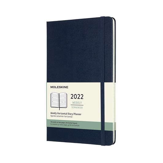 Moleskine 12 Month Weekly Horizontal Large Sap Blue Hard Cover 2022 Diary