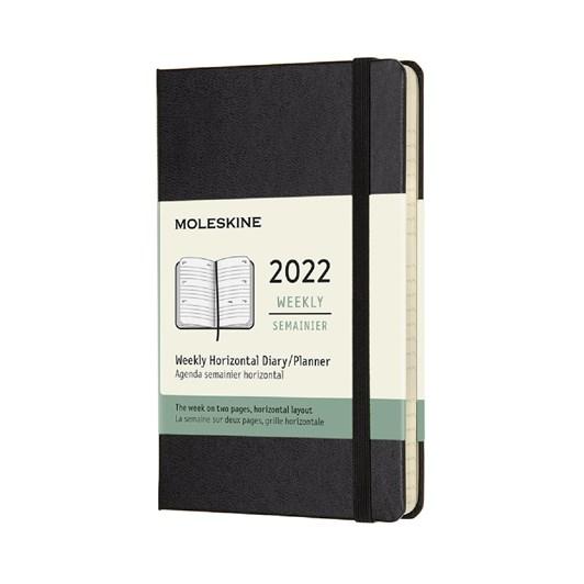 Moleskine 12 Month Weekly Horizontal Pocket Black Hard Cover 2022 Diary