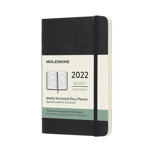 Moleskine 12 Month Weekly Horizontal Pocket Black Soft Cover 2022 Diary