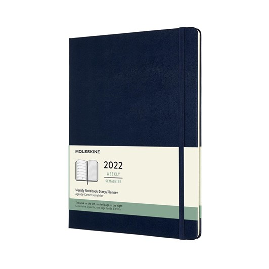 Moleskine 12 Month Weekly + Notes XL Sapphire Blue Hard Cover 2022 Diary