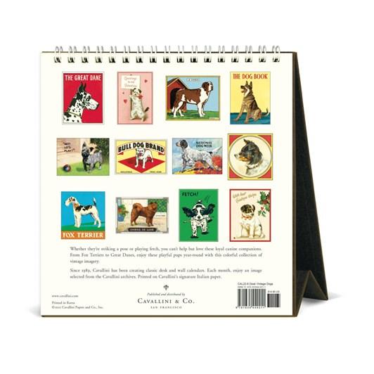Cavallini Vintage Dogs 2022 Desk Calendar