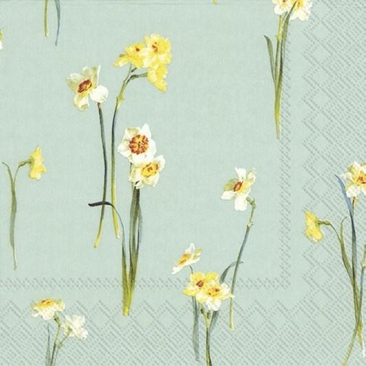 IHR Elegant Narcissus Light Blue Luncheon Napkin