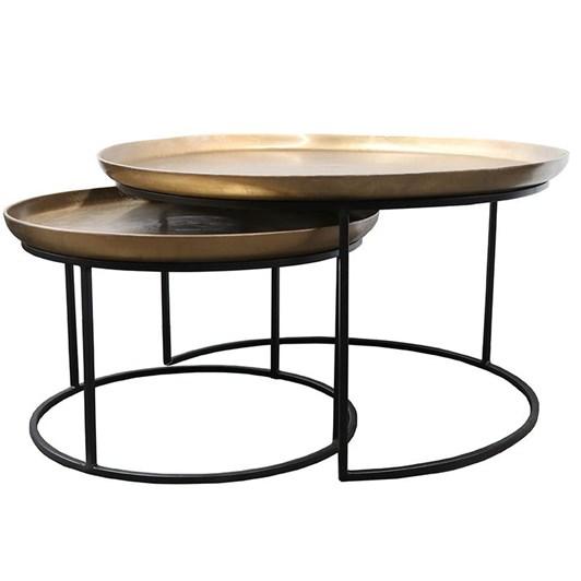Calypso Coffee Tables Antique Brass Set Of 2