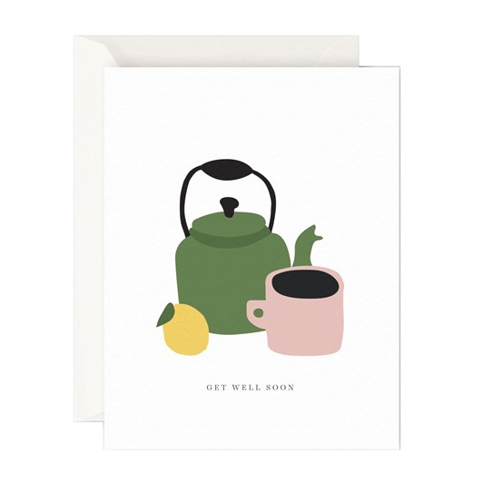 Father Rabbit Stationery Get Well Soon Teapot Card