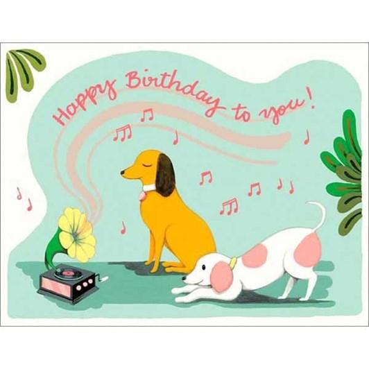 Gramophone Dogs Birthday Card
