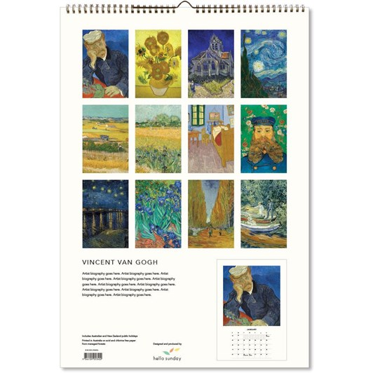 Hello Sunday Vincent Van Gogh Large Calendar