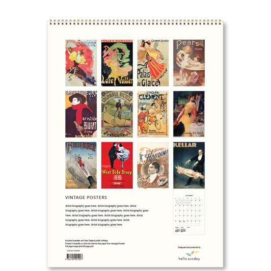 Hello Sunday Vintage Posters Medium Calendar