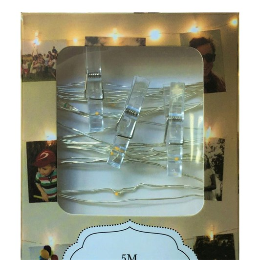 Stellar Haus 50 Led Peg AA Seed Light String Silver 5m