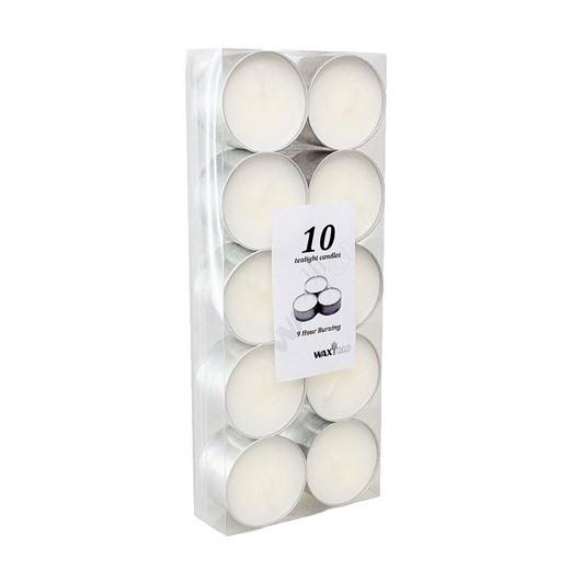 Waxglo 9 Hour Tealight Candles - Pack of 10