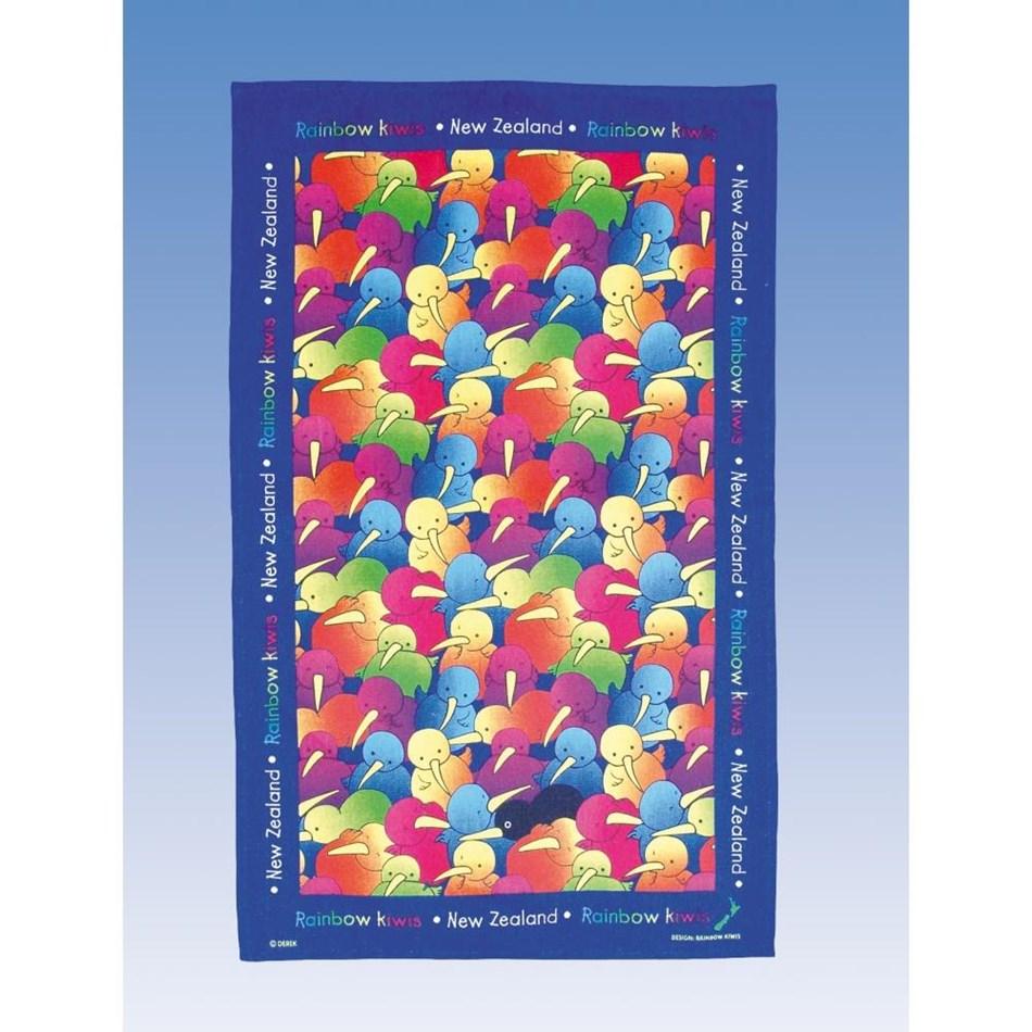 Derek Tea Towel - Rainbow Kiwi -