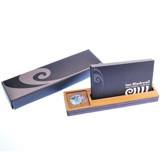 Ian Blackwell Wooden Business Card Holder - Paua Inlay