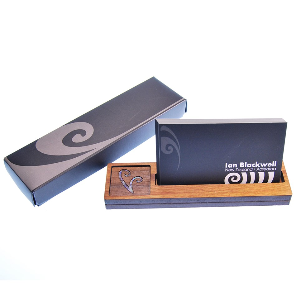 Ian Blackwell Wooden Business Card Holder - Paua Inlay - koru