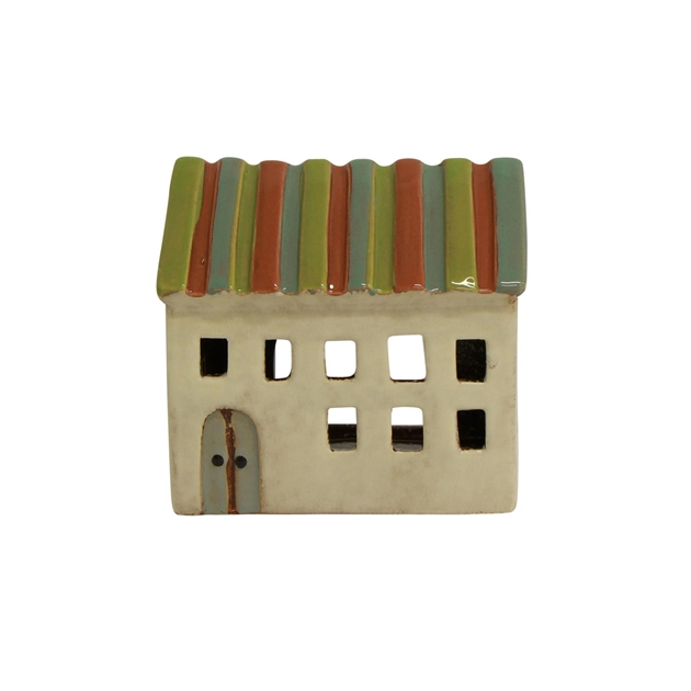 French Country Striped Tea Light House Small -
