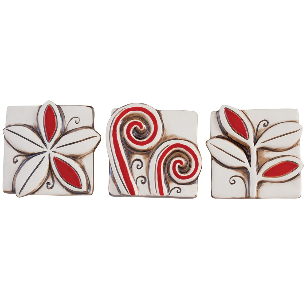 Jenz Mini Vibrant NZ Red and Natural Set of 3 red natural
