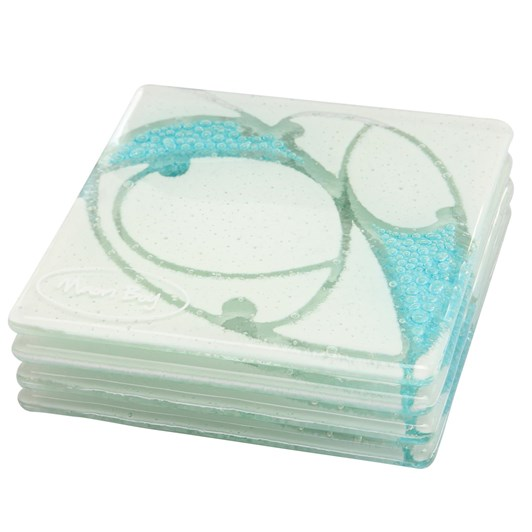 Maori Boy Kawakawa Coaster Set 4 - White & Aqua Bubbles