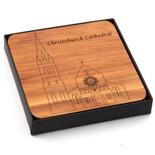 Kompletely Kiwi Rimu Coasters Box of 4 - Cathedral