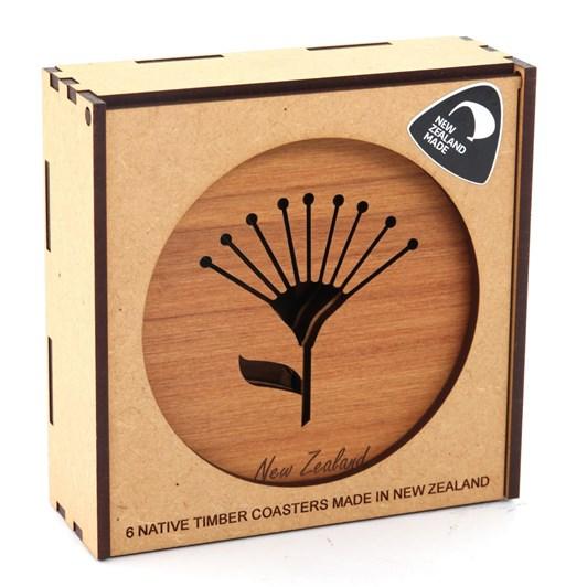 Kompletely Kiwi Rimu Coasters Box of 6 - Fern/Map/Pohutukawa