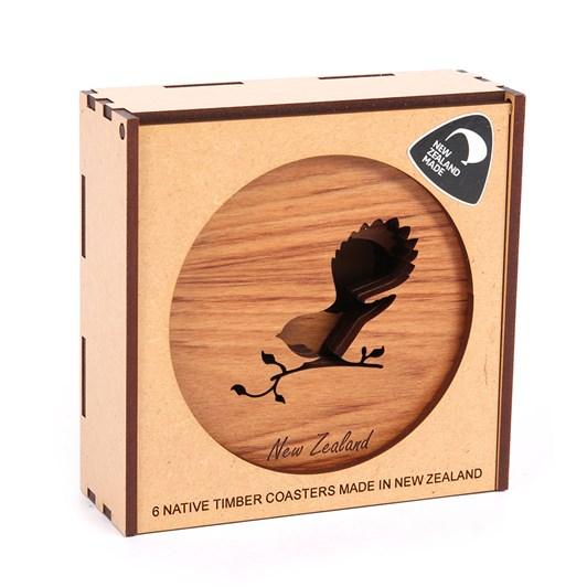 Kompletely Kiwi Rimu Coasters Box of 6 - Kiwi/Fantail