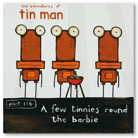 Tony Cribb A Few Tinnies Round The Barbie Box Frame Black 30x30cm