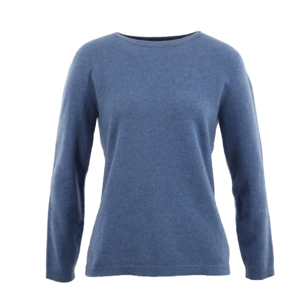 Native World Ladies Round Neck Plain Sweater - 1300 bluebell