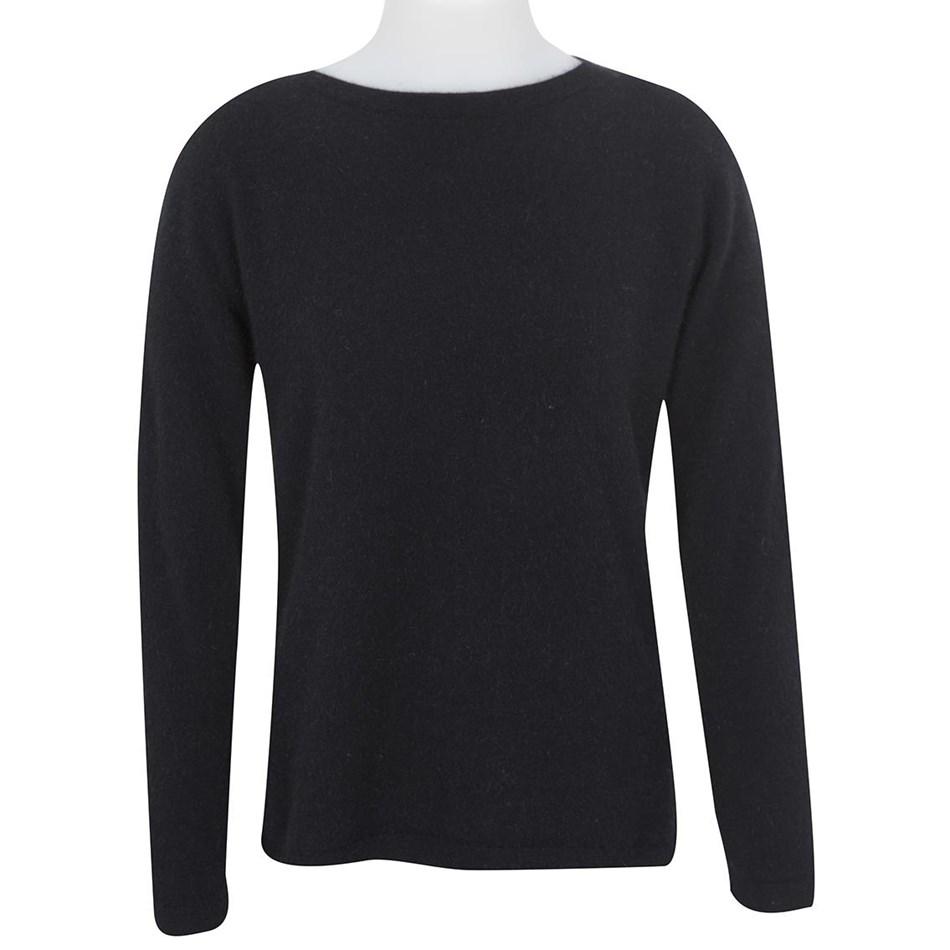 Native World Ladies Round Neck Plain Sweater - black