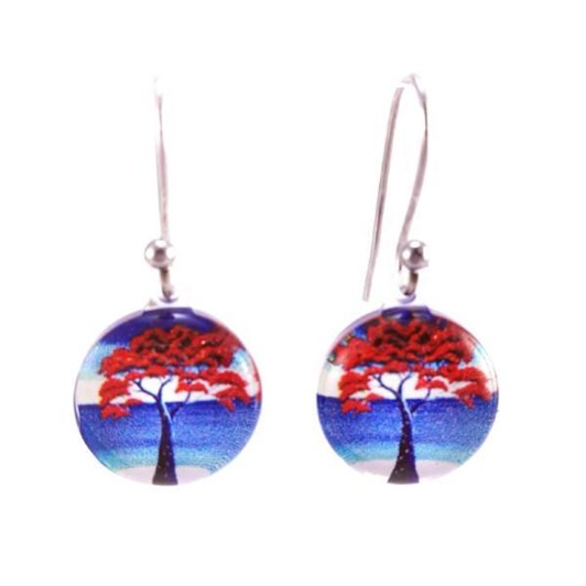 Round Pohutakawa Earrings
