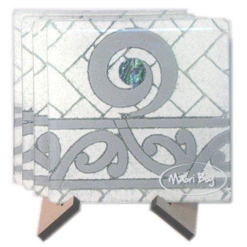 Maori Boy Paua Kete Coasters Set 4 White/Grey