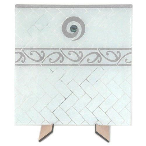 Maori Boy Paua Kete Med Square Platter 300x300Mm White/Grey